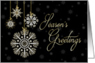 Season's Greetings - White and gold hanging snowflake decorations