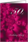 Silky Flowers, 50th birthday invitation card