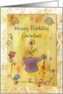 Watering can with flowers and birds - grandmother birthday