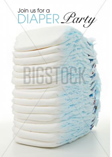 Diaper Party Stack of disposable diapers Baby shower Invitation Greeting Card