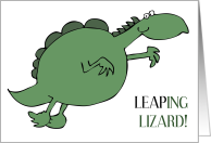 Confused Fat Green Leaping Lizard for Leap Day February 29th Birthday card