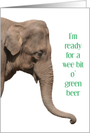 Elephant Green Beer & Straw St. Patrick's Day Humor card