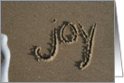Christmas Writing in Sand joy card
