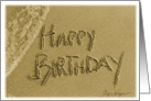 Happy Birthday Beach Sand & Surf Writing card