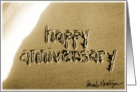 happy anniversary beach sand & surf card