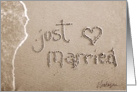 just married beach & sand card