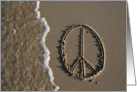peace sign - beach & sand card