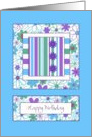Birthday - Flowers & Stripes card