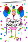 Happy Birthday Pink Flamingo Balloons card