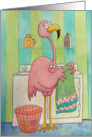 Thinking of You Friend Whimsical Pink Flamingo Does Laundry card