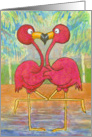 Pink Flamingo Couple Tropical Beach In Love Anniversary card