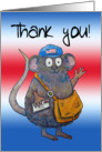 Thank you Postal Worker Mailman Cute Whimsical Mouse card
