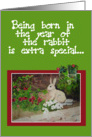 Happy Birthday Year of the Hare Rabbit Watercolor Rabbit card