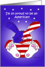 4th of July Independence Day Whimsical Proud American Red White Blue Bunny card