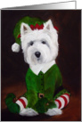 Westie West Highland Terrier Dog - Elf card