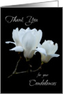 Thank you condolences white magnolias card
