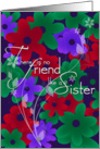 Sister's birthday bold floral background card