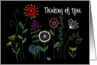 Thinking of you bright hand drawn flowers card