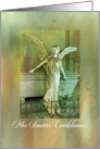 angel statue with sympathy FRENCH card