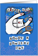 Adopt Shelter Cat, Love a cat card by Sharon Fernleaf