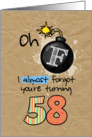 F-bomb birthday - 58 years old card
