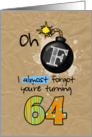F-bomb birthday - 64 years old card