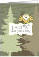 I Miss You While You're Away - Forest and Owl card