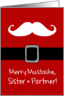 Merry Mustache - Sister & Partner card