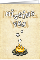 Missing you at summer camp - campfire card