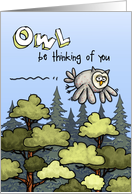 Thinking of you at summer camp - owl card