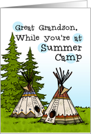 Great Grandson - Thinking of you at summer camp - teepees card