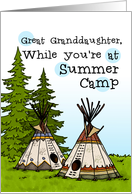 Great Granddaughter - Thinking of you at summer camp - teepees card