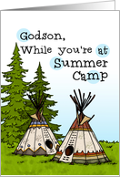 Godson - Thinking of you at summer camp - teepees card