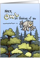 Niece - Thinking of you at summer camp - Owl card