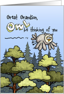 Great Grandson - Thinking of you at summer camp - Owl card