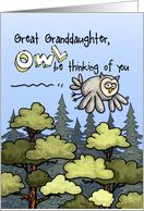 Great Granddaughter - Thinking of you at summer camp - Owl card