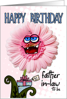 happy birthday flower - father-in-law to be card