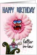 happy birthday flower - father-in-law card