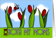 mother's day tulips - for both my moms card