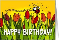 Happy Birthday tulips - partner card