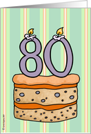 birthday - cake & candle 80 card