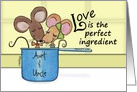Customize Happy Anniversary for Aunt and Uncle-Mice in Measuring Cup card