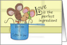 Customize Happy Anniversary Brother and His Wife-Mice in Measuring Cup card