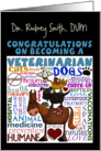 Personalized Congratulations on Becoming a Veterinarian-Vet Terms card