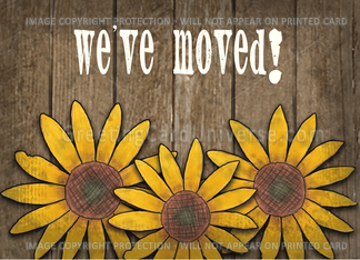 Rustic Sunflowers Moving Announcement- Were Moving Greeting Card