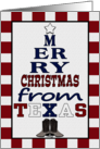 Merry Christmas from Texas-Christmas Tree Shape Words card