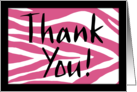 Blank Note Card, Thank You-Pink Zebra Print card