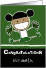 Personalized Congratulations on making Cheerleader-Dark Haired Girl card
