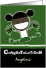 Personalized Congratulations on making Cheerleader-Dark Haired/Skin card