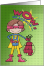 4th Birthday for Grandson with Letter J- Superhero-Comic Style card